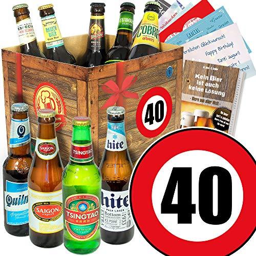 40. Geburtstag - Bier Set mit 9 Bieren der Welt - Bier Geschenke für Männer