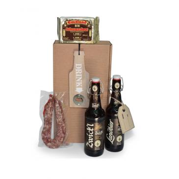 Geschenkset mit Bier und Wurst